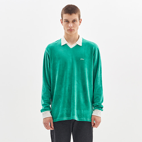 VELOUR COLLAR T-SHIRT_GREEN
