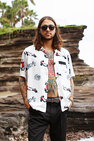 FORMULA-1 HAWAIIAN SHIRT_WHITE