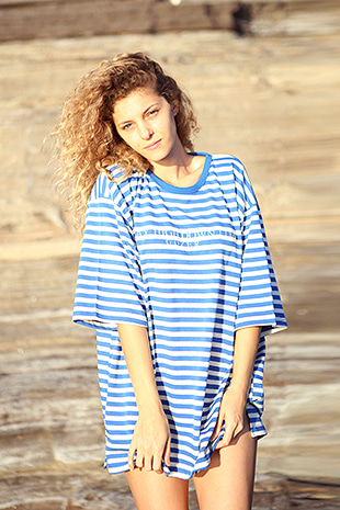18 OVERFIT STRIPE T-SHIRT_BLUE&WHITE