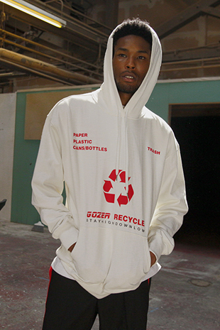 GOZER RECYCLE HOODY_WHITE