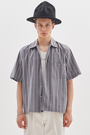 20 STRIPE HALF SHIRT_GREY