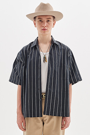 20 STRIPE HALF SHIRT_BLACK