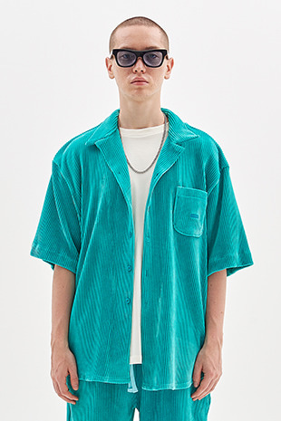 CORDUROY HALF SHIRT_MINT GREEN