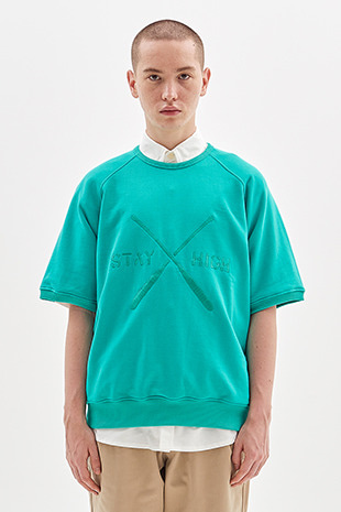 PADDLE EMBROIDERED HALF CREW_GREEN