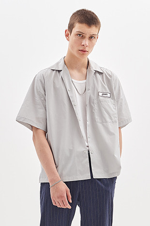 NAME TAG HALF SHIRT_GREY
