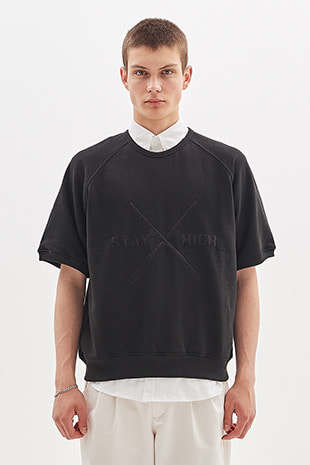PADDLE EMBROIDERED HALF CREW_BLACK
