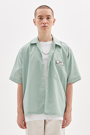 NAME TAG HALF SHIRT_ICE GREEN