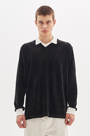 VELOUR COLLAR T-SHIRT_BLACK