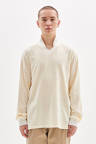 VELOUR COLLAR T-SHIRT_IVORY