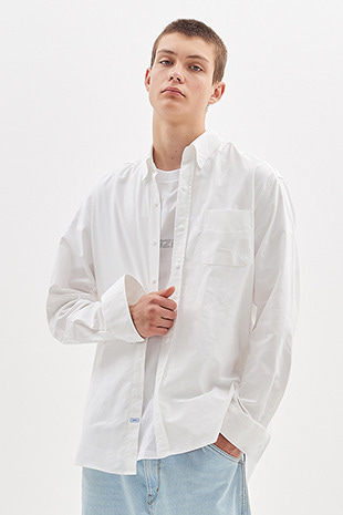 SNAP BUTTON OXFORD SHIRT_WHITE